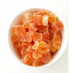 Getrocknete Papaya rot-Würfel